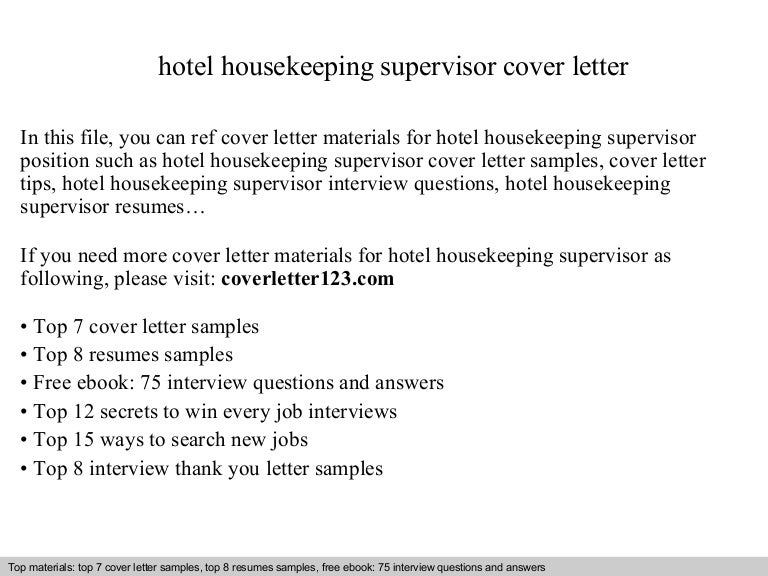 Hotel Housekeeping Supervisor Cover Letter. Apartment Housekeeper ...