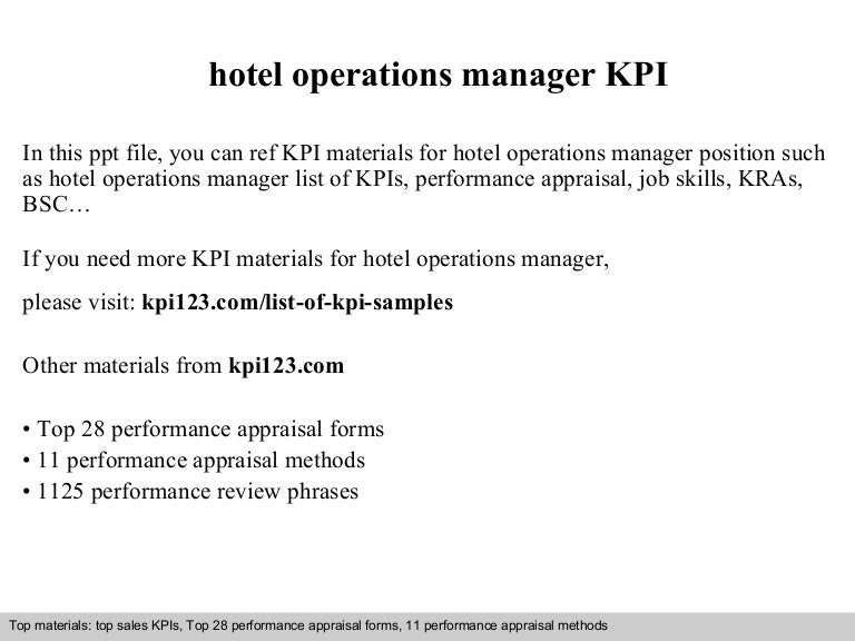 Hotel operations manager kpi