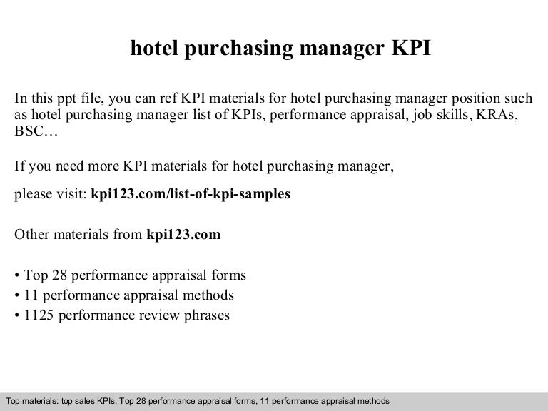 Hotel purchasing manager kpi – Purchasing Manager Job Description