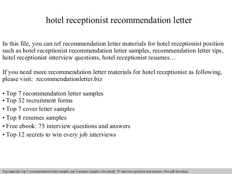 cover letter receptionist hotel Reader Interactions