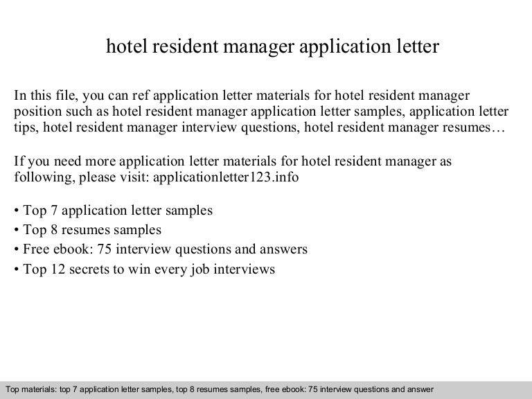 hotel resident manager application letter
