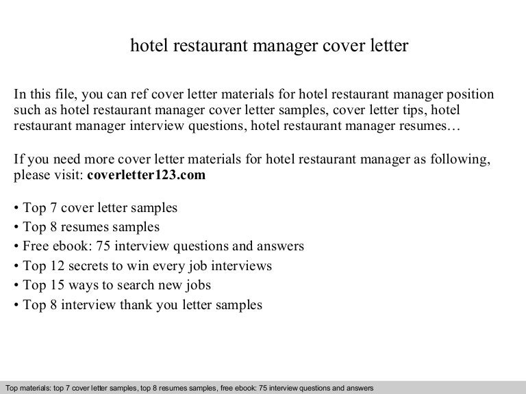 Hotel restaurant manager cover letter