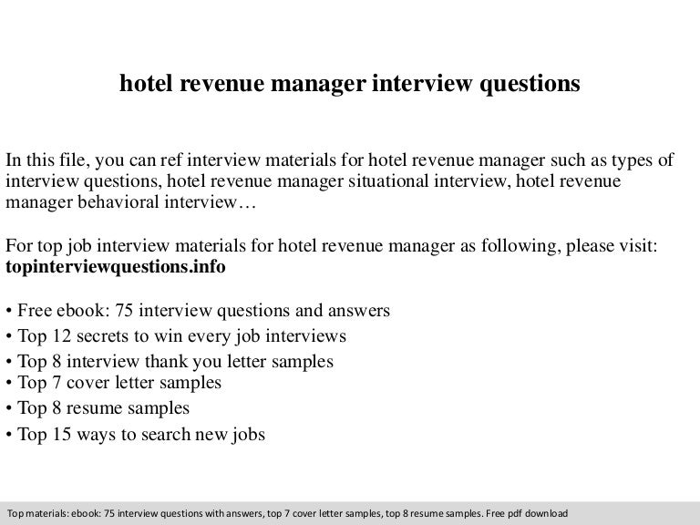 hotel revenue manager interview questions