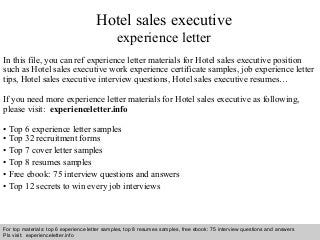 hotel sales   linkedinhotel  s executive experience letter
