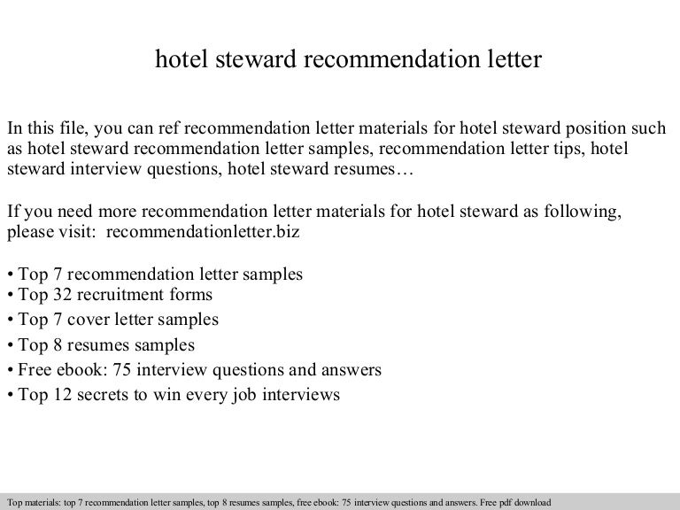 Hotel steward recommendation letter