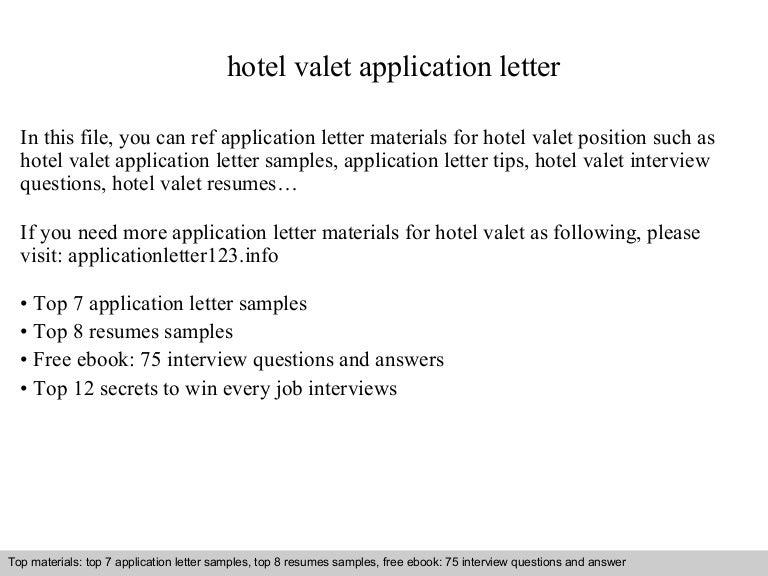 Hotel valet application letter
