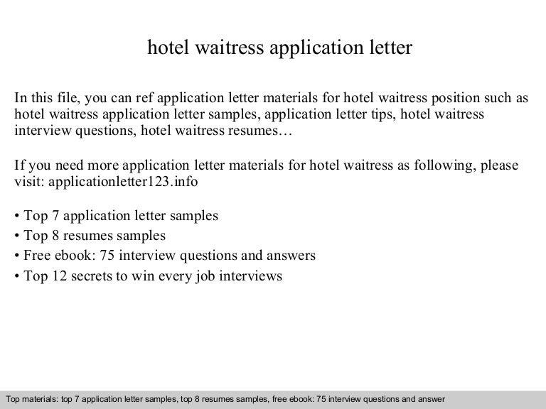 Hotel Waitress Application Letter