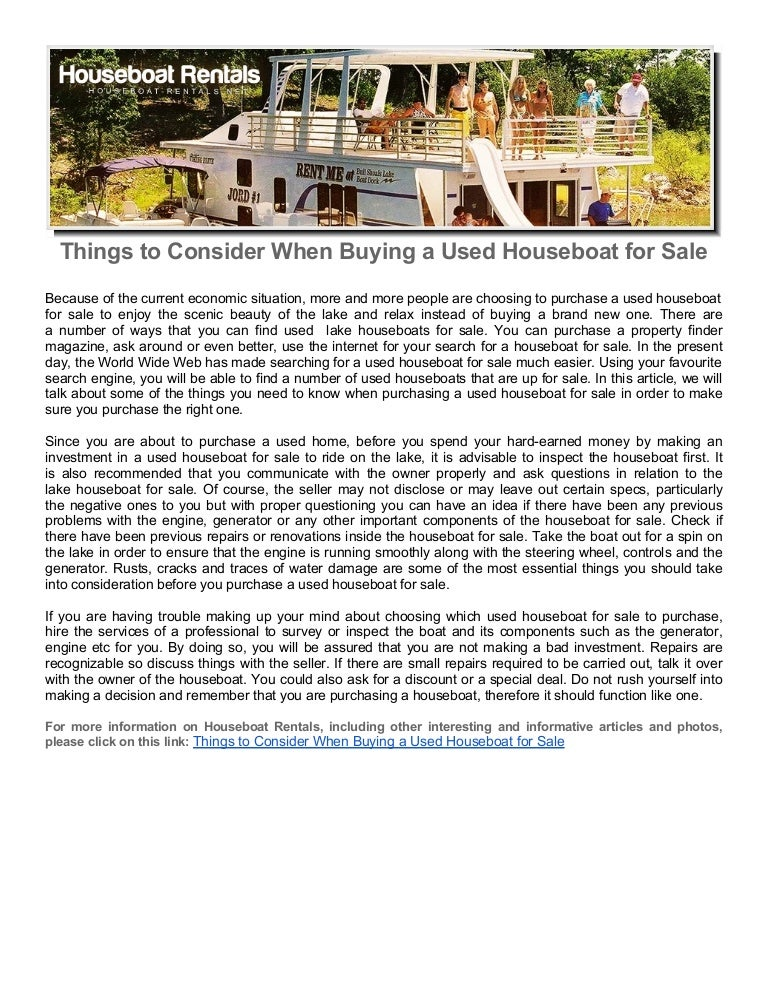 Things to Consider When Buying a Used Houseboat for Sale