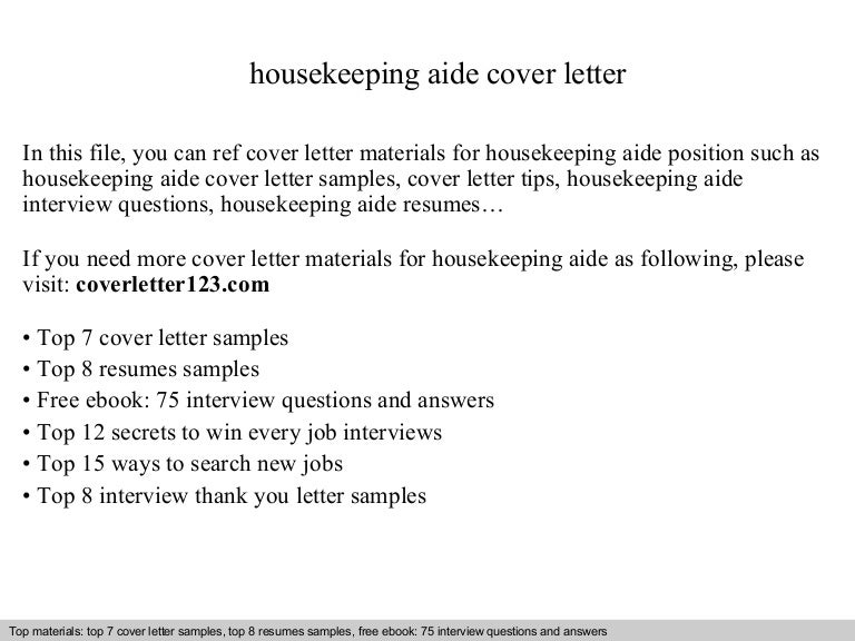 Housekeeping aide cover letter