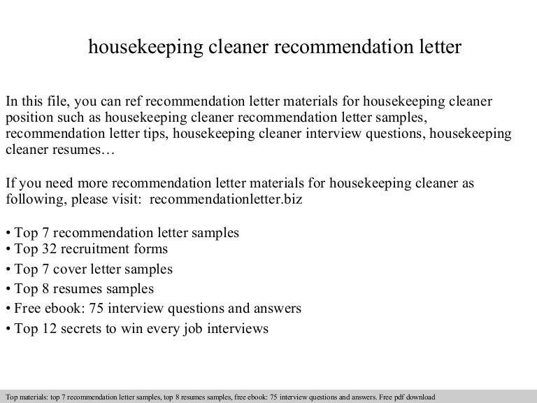 housekeeping cleaner recommendation letter - Cleaner Cover Letter