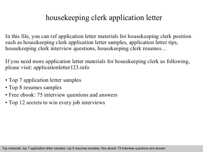 Housekeeping Clerk Application Letter