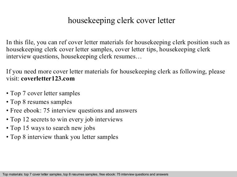 Housekeeping clerk cover letter
