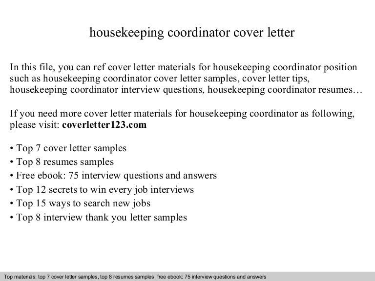 Housekeeping coordinator cover letter – Housekeeping Cover Letter Sample