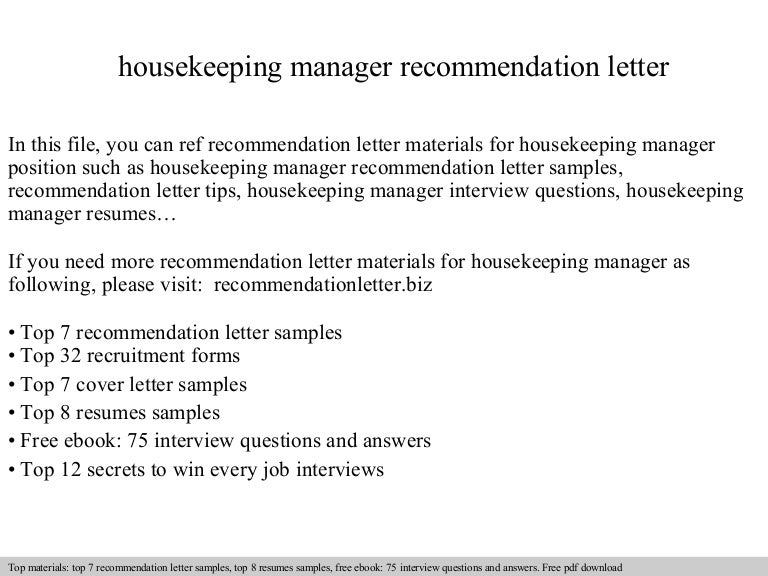 Housekeeping Manager Recommendation Letter