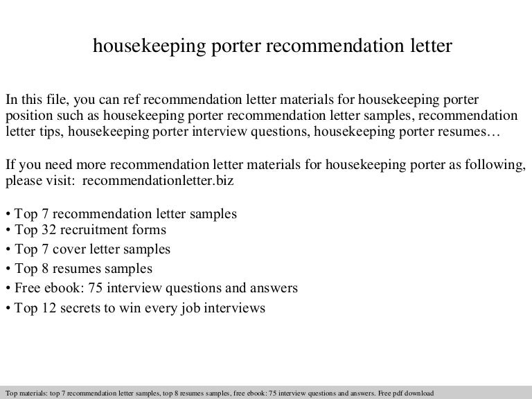 Housekeeping porter recommendation letter spiritdancerdesigns Image collections