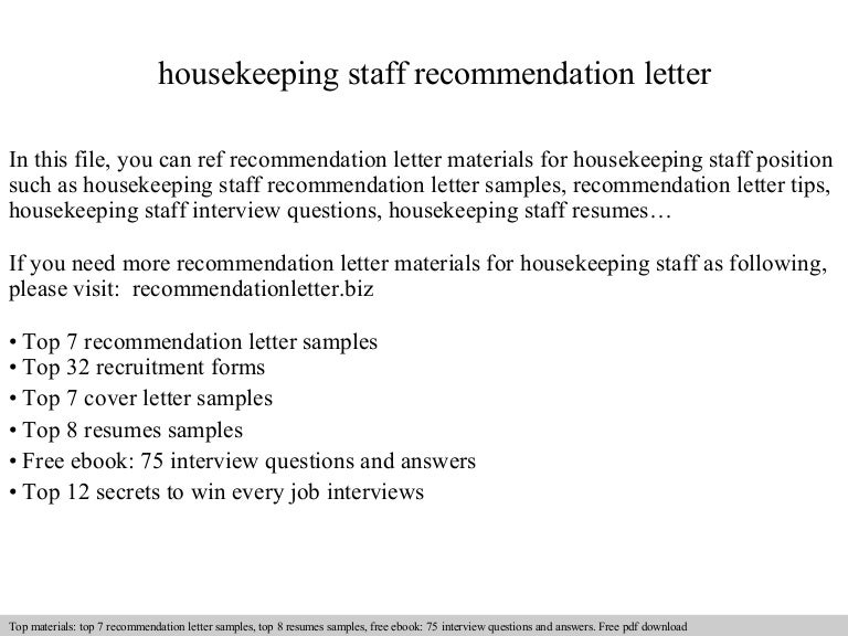 Housekeeping staff recommendation letter