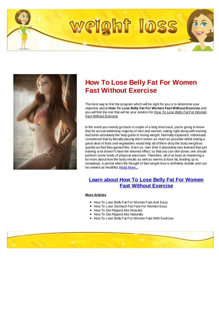 How To Lose Belly Fat For Women Fast Without Exercise