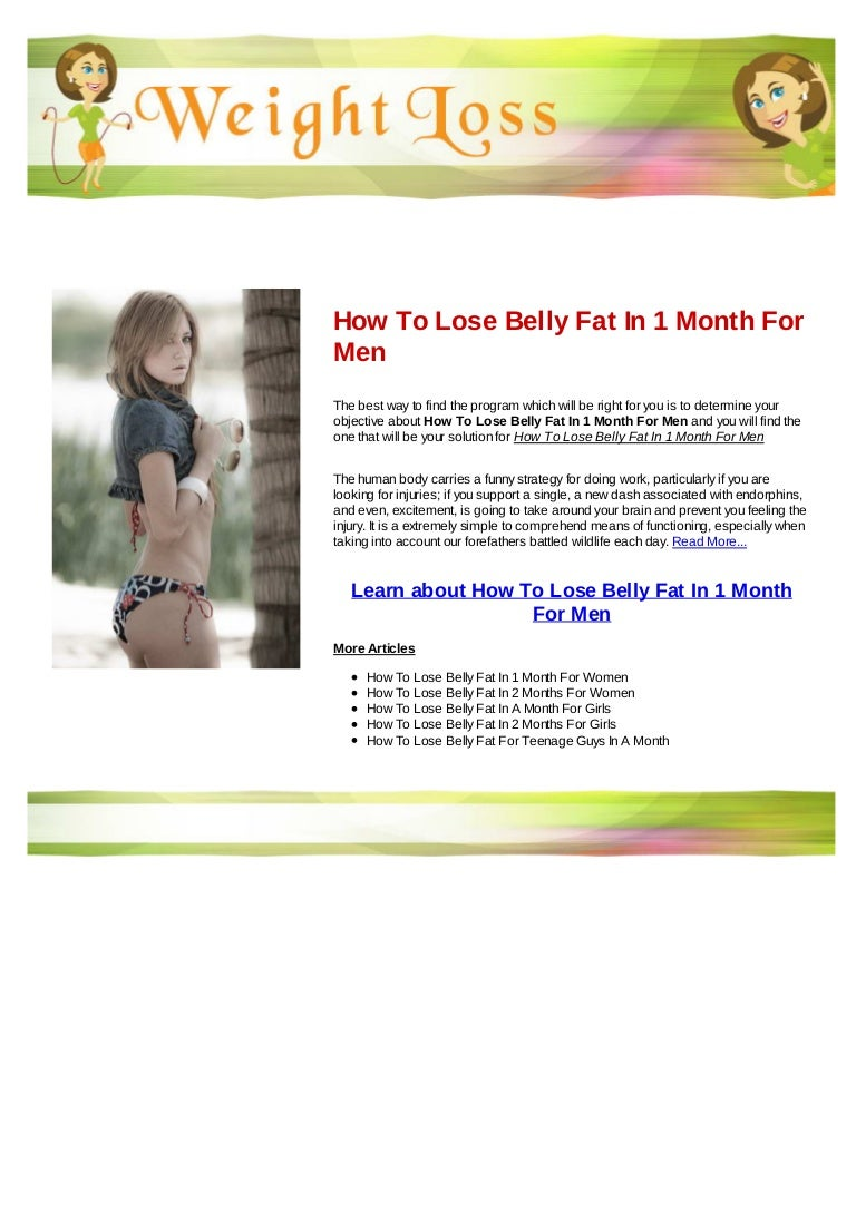 How lose belly fat in 1 month