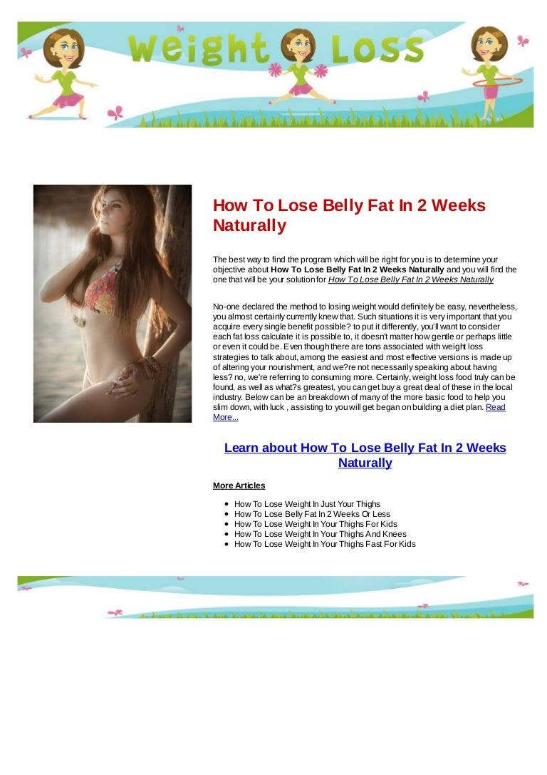 How To Lose Belly Fat In 2 Weeks Naturally