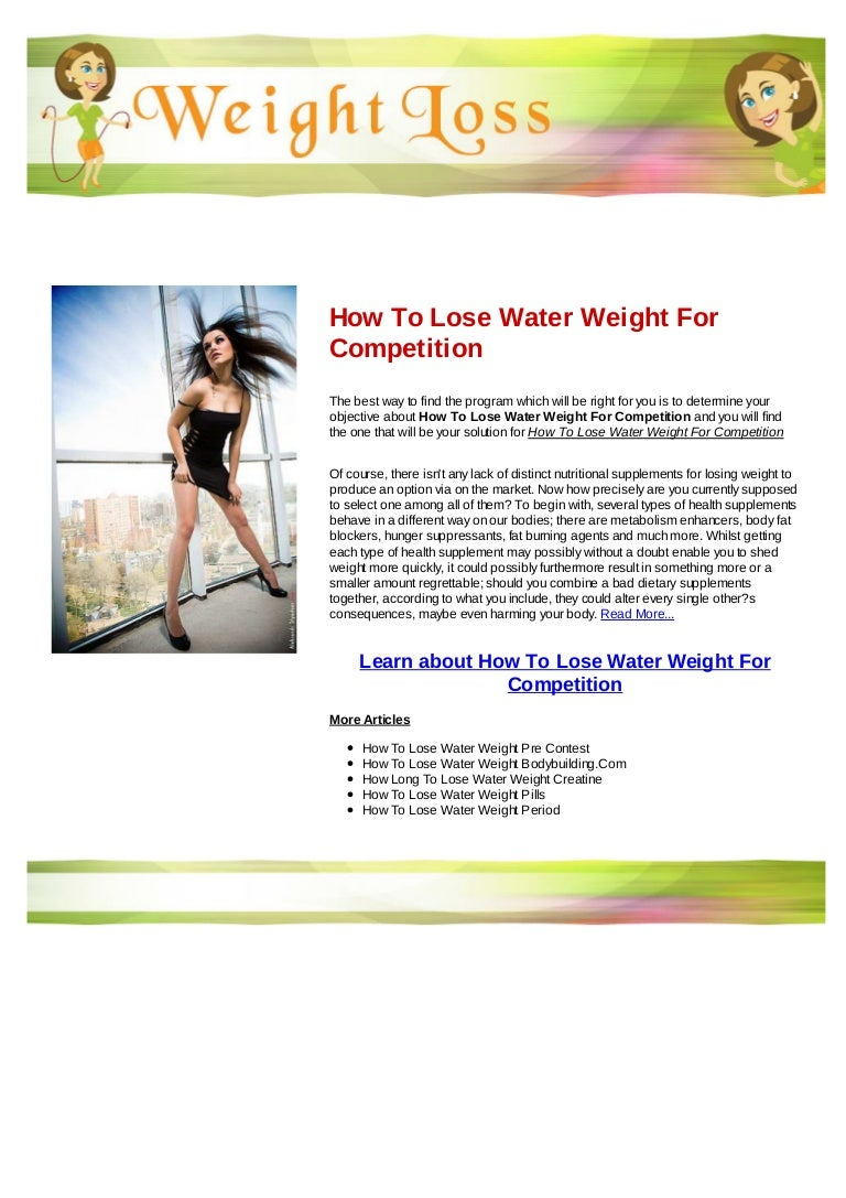 How to lose water weight for competition