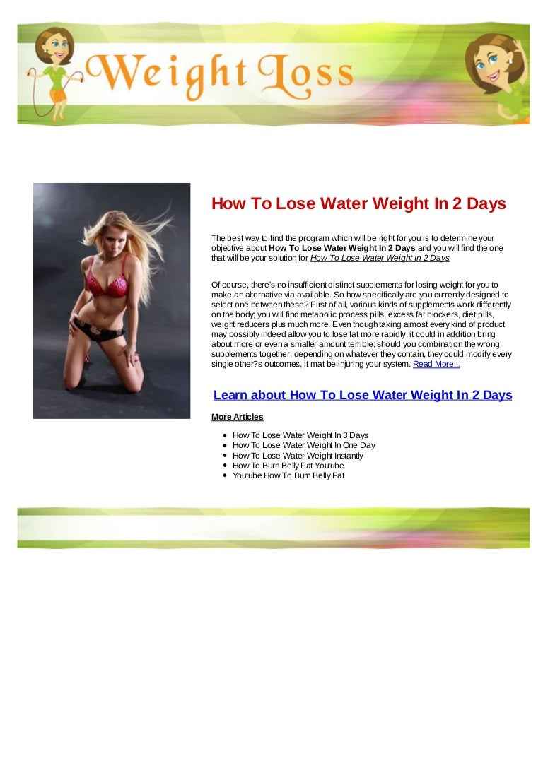 how to lose weight in 3 days with water