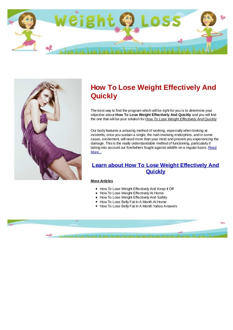How to lose weight effectively and quickly