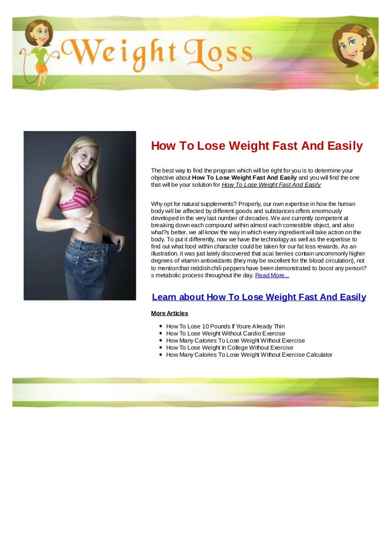 How To Lose Weight Fast And Easily