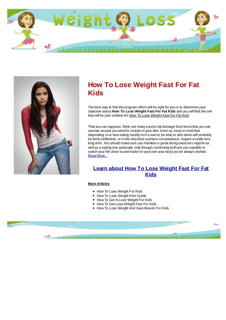 How To Lose Weight Fast For Fat Kids