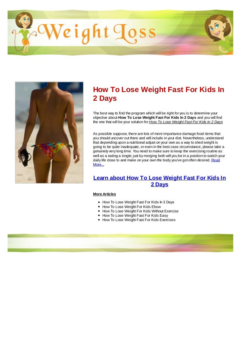 How to lose weight fast for kids in 12 days