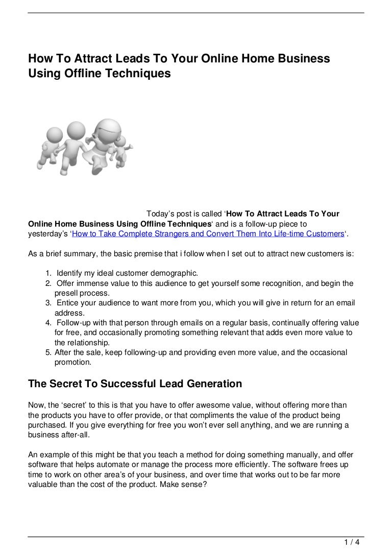 How To Attract Leads To Your Online Home Business Using Offline Techn…