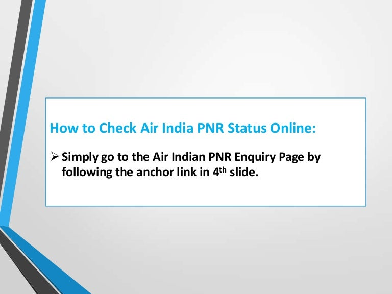 How to check air india pnr status