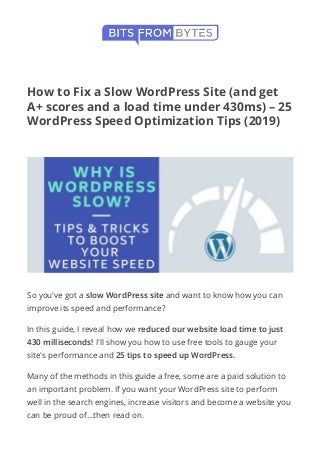How to Fix a Slow WordPress Site (and get A+ scores)