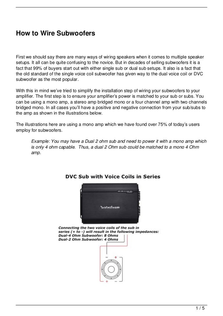 Dual Voice Coil Hook Up Wiring Diagram For Dvc Subwoofer Diagrams Mojo Shout Now The Above Mentioned Combinations Were Basics And Common One You