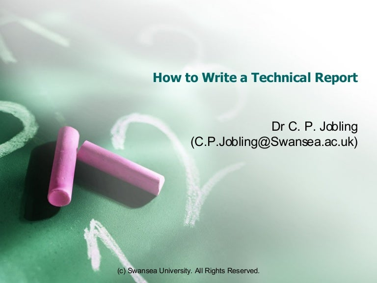 how to write a technical report architecture