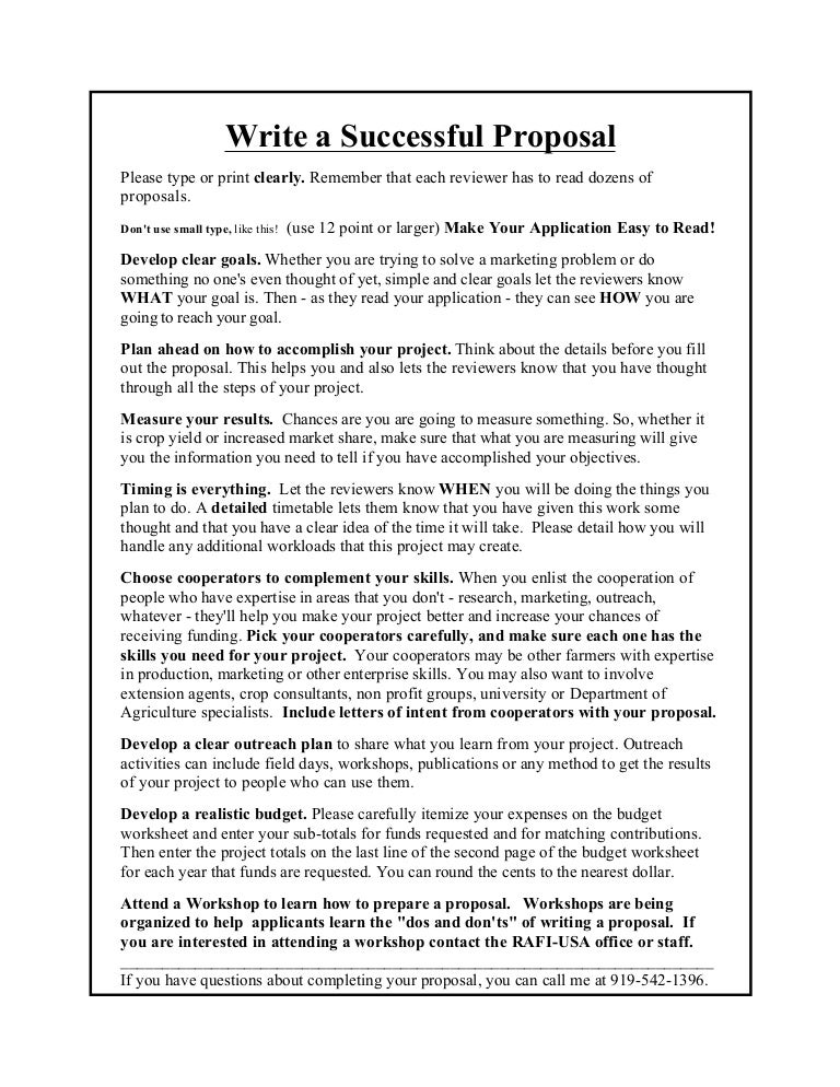 How to Write a Successful Proposal (TCRF)