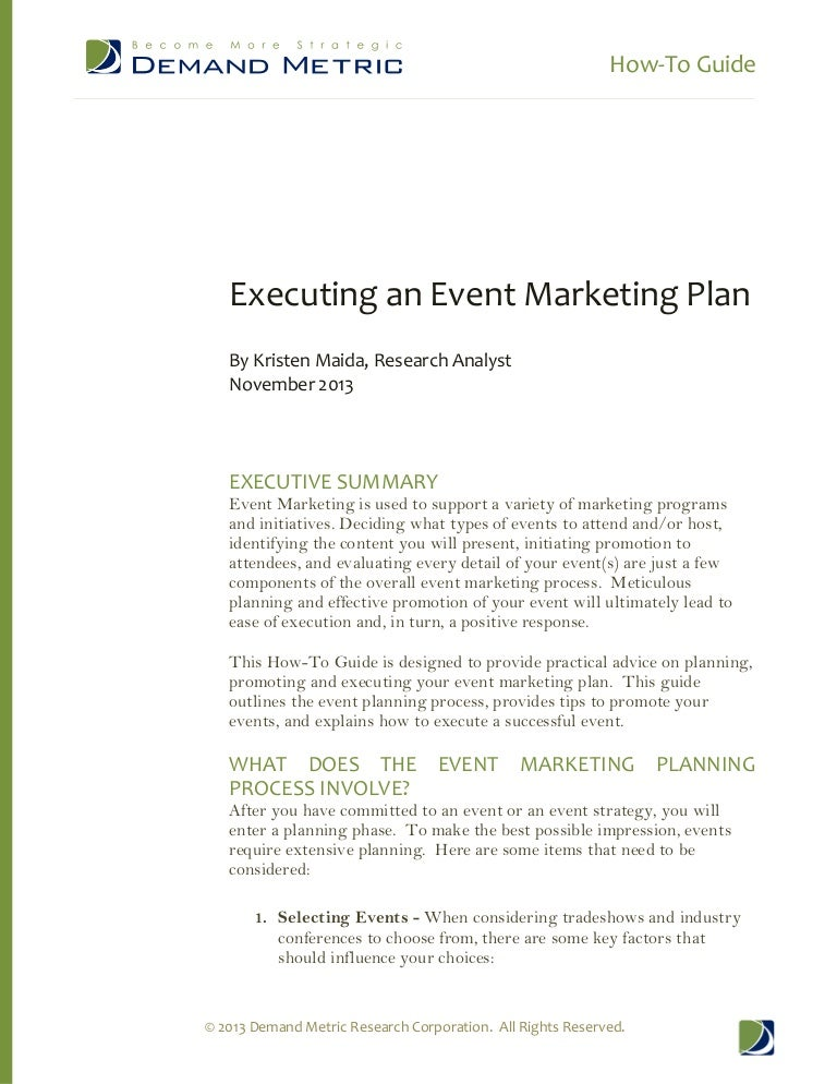 How-To-Guide - Executing An Event Marketing Plan