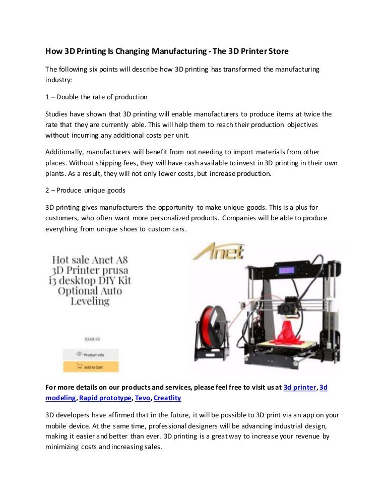 How 3 d printing is changing manufacturing the 3d printer store