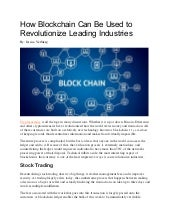 How Blockchain Can Be Used to Revolutionize Leading Industries
