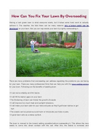 How can you fix your lawn by overseeding. odt