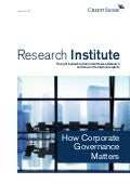 How Corporate Governance Matters - Credit Suisse 2016 Report