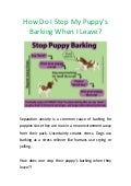 How do i stop my puppys barking when i leave