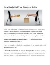 How easily sell your products online
