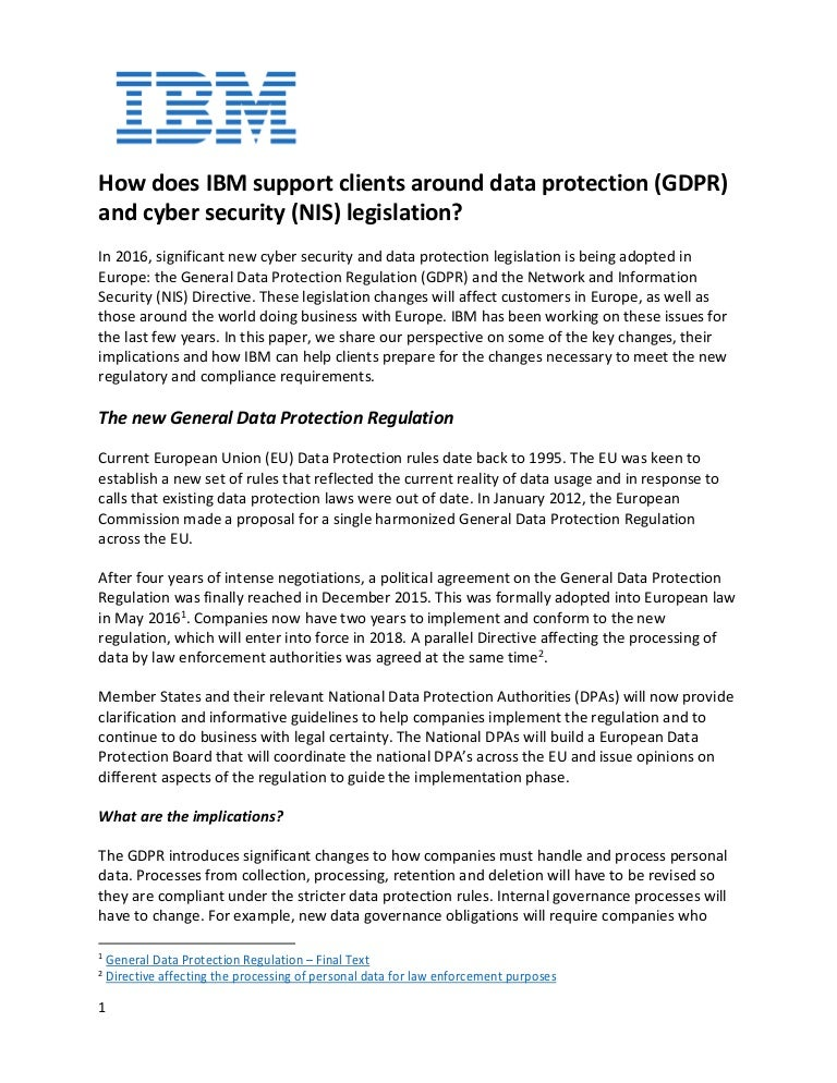 how ibm supports clients around gdpr and cybersecurity legislation