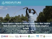 How irrigation supports nutrition outcomes- New Insights from the USAID Feed-the-Future Small-Scale Irrigation project
