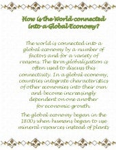 How Is The World Connected Into A Global Economy