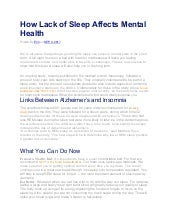 How Lack of Sleep Affects Mental Health