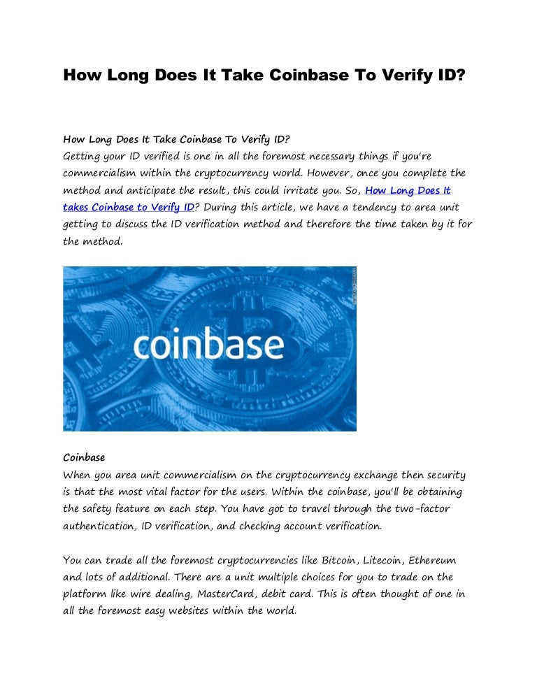how long for coinbase verification