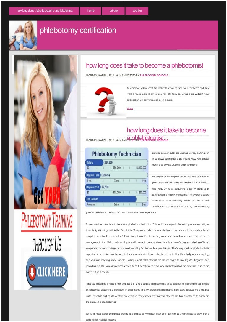 How long does it take to become a phlebotomist 1betcityfo Images