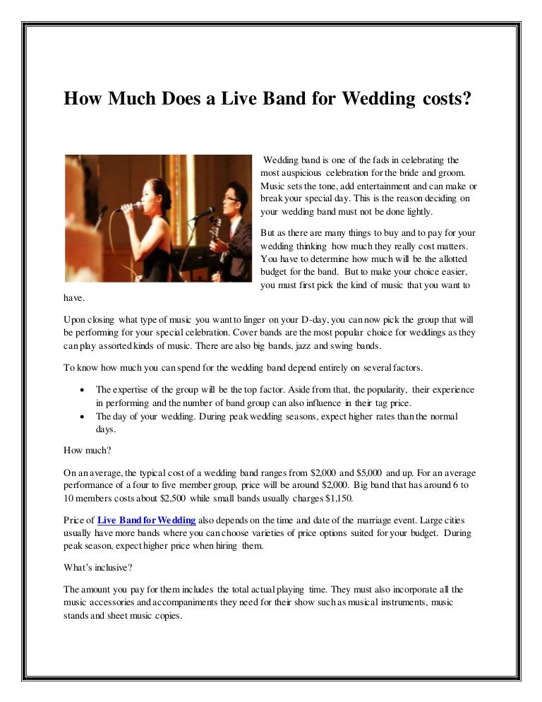 how much does a live band for wedding costs