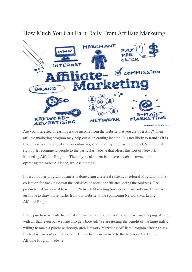 How much you can earn daily from affiliate marketing